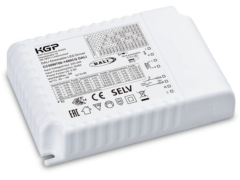 DALI and 1-10V dimmable 50 Watt LED Driver  in compact housing